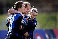Fotball<br /> Toppserien<br /> Nadderud Stadion 24.04.10<br /> Stabæk - Fløya<br /> Lise Klaveness feirer scoring med Kristy Moore og Ingrid Fosse Sæthre<br /> <br /> Foto: Eirik Førde