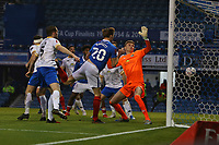 Football - 2020 / 2021 Emirates FA Cup - Round 2 - Portsmouth vs. Kings Lynn Town - Fratton Park<br /> <br /> Portsmouth's Sean Raggett climbs highest at the back post to head Pompeys third at Fratton Park <br /> <br /> COLORSPORT/SHAUN BOGGUST