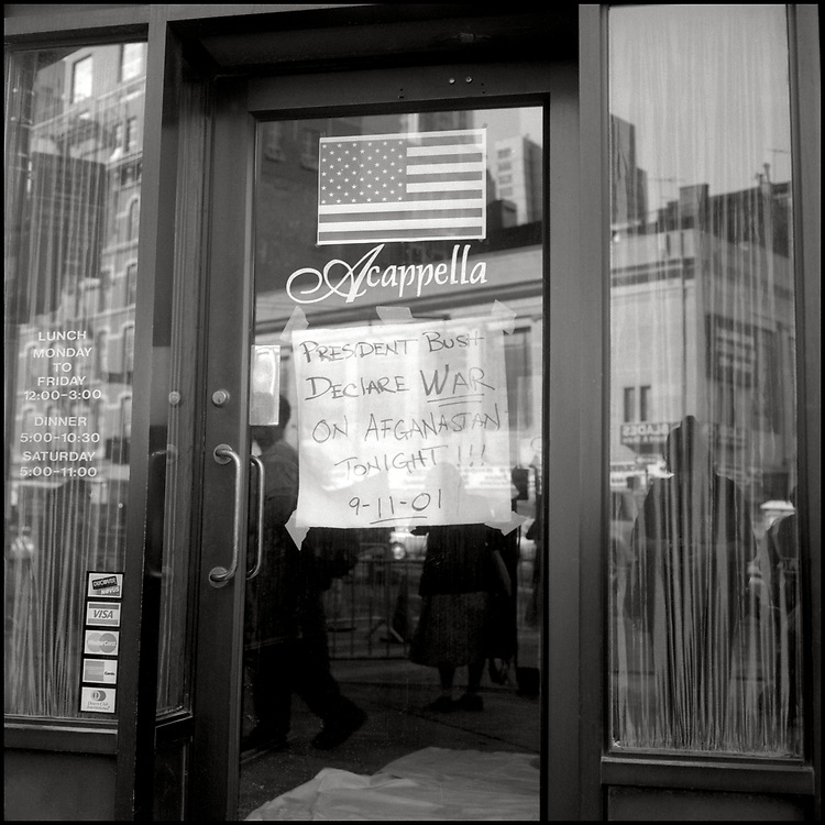 Many storefronts in New York City displayed signs in their windows expressing sorrow, solidarity and support in the days following the attack on the World Trade Center.