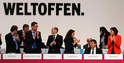 11.12.2015, City Cube Berlin, Messegelaende, Berlin, GER, SPD Parteitag, im Bild Stehende Ovationen fuer die Wiederwahl von Sigmar Gabriel zum Parteivorsitz der SPD // during the german socialist Party congress at the City Cube Berlin, Messegelaende in Berlin, Germany on 2015/12/11. EXPA Pictures © 2015, PhotoCredit: EXPA/ Eibner-Pressefoto/ Hundt<br /> <br /> *****ATTENTION - OUT of GER*****