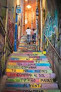 Graffiti on staircase in Valparaiso, Chile