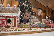 27/11/2014 Repro freeThe wonder of Christmas! Shane and Lia Corcoran Clarinbridge take a peek at Hotel Meyrick's stunning creation of a traditional Gingerbread train station and set which is on display in the parlour lounge until Christmas Eve when it will be donated to the St Bernadette's children's ward at University College hospital Galway, www.hotelmeyrick.ie. <br />  . Photo:Andrew Downes