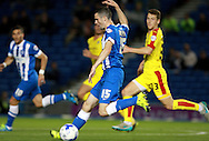 Brighton player Jamie Murphy shaes to cross the ball during the Sky Bet Championship match between Brighton and Hove Albion and Rotherham United at the American Express Community Stadium, Brighton and Hove, England on 15 September 2015. Photo by Bennett Dean.