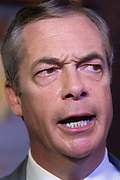 Brexit Party leader Nigel Farage addresses party members and delegates at an event to introduce prospective parliamentary candidates, in central London, United Kingdom on 27th August, 2019.