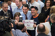 Republican presidential candidate Wisconsin Gov. Scott Walker visits with supporters at the Highland Park Soda Fountain in Dallas, Texas on September 2, 2015. (Cooper Neill for the Texas Tribune)