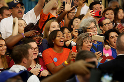 Supporters cheer as Hillary Clinton takes the stage in Miami at Miami Dade College in Kendall with former Vice President Al Gore. The two discussed climate change as well as the upcoming election. Miami, FL, USA, October 11, 2016. Photo by Mike Stocker/Sun-Sentinel/TNS/ABACAPRESS.COM