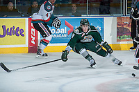 KELOWNA, CANADA - JANUARY 22: Brayden Low #11 of the Everett Silvertips blocks a shot from the Kelowna Rockets on January 22, 2014 at Prospera Place in Kelowna, British Columbia, Canada.   (Photo by Marissa Baecker/Getty Images)  *** Local Caption *** Brayden Low;