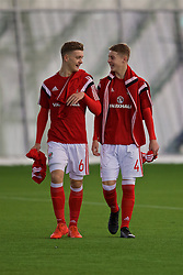 EDINBURGH, SCOTLAND - Tuesday, November 1, 2016: Wales' Cameron Evans and Keenan Patten before the Under-16 2016 Victory Shield match against Scotland at ORIAM. (Pic by David Rawcliffe/Propaganda)