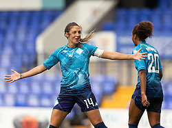 BIRKENHEAD, ENGLAND - Sunday, August 29, 2021: London City Lionesses' Harley Bennett celebrates at full time after the FA Women's Championship game between Liverpool FC Women and London City Lionesses FC at Prenton Park. London City won 1-0. (Pic by Paul Currie/Propaganda)