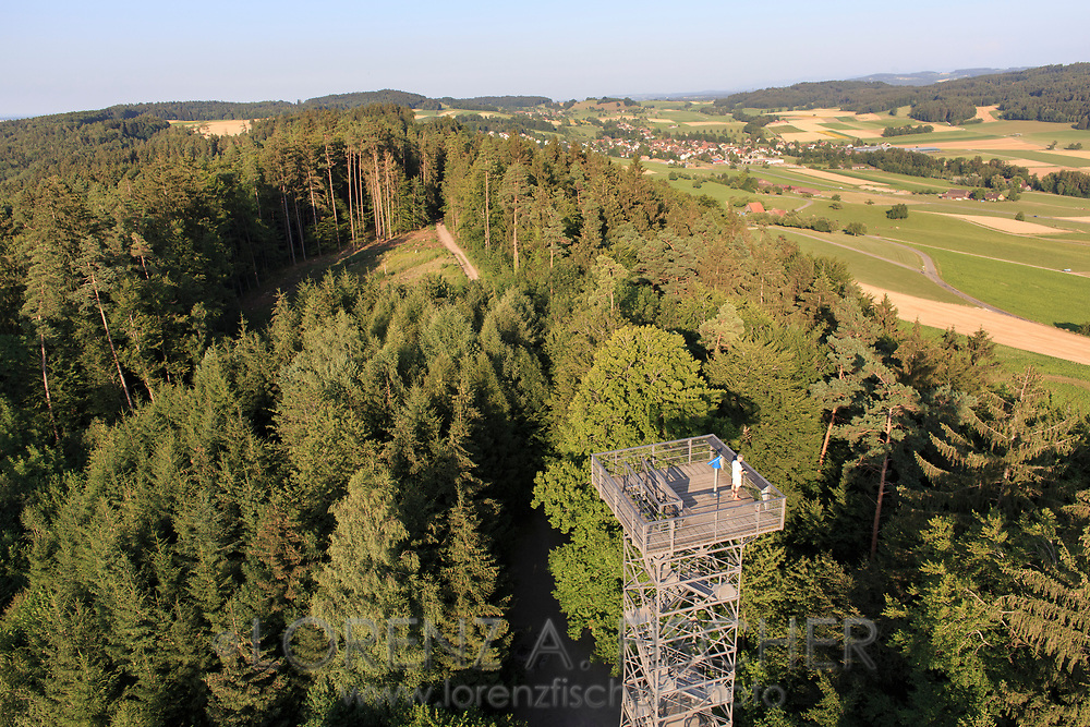 Aerial of the look-out Stäälibuck close to the city of Frauenfeld on a nice and sunny evening in July, Thurgau, Switzerland