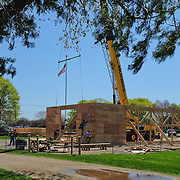 Moving the second (north) wall into position.