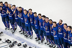 Players of France singing National Anthem during the 2017 IIHF Men's World Championship group B Ice hockey match between National Teams of France and Belarus, on May 12, 2017 in AccorHotels Arena in Paris, France. Photo by Vid Ponikvar / Sportida