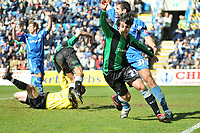 Photo: Tony Oudot/Richard Lane Photography. <br /> Gilingham Town v Swansea City. Coca-Cola League One. 12/04/2008. <br /> GOAL! Guillem Bauza scores his first goal for Swansea
