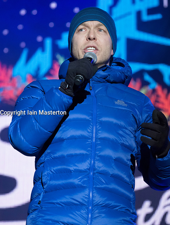 Sir Chris Hoy speaks at  Sleep in the Park, held in Princes Street Gardens in Edinburgh, saw almost 9000 people sleep outdoors to raise money and awareness of homelessness.