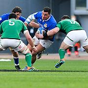 Roma 27/02/2021, Stadio Olimpico<br /> Guinness Six Nations 2021<br /> Italia vs Irlanda <br /> <br /> Giosue' Zilocchi placcato da Cian Healy