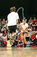 Loughborough, England - Saturday 31 July 2010: Tim Van de Walle and Flore van Maldeghen of Belgium take part in the single rope freestyle team event during the World Rope Skipping Championships held at Loughborough University, England. The championships run over 7 days and comprise junior categories for 12-14 year olds in the World Youth Tournament, 15-17 year olds male and female championships, and any age open championships. In the team competitions, 6 events are judged, the Single Rope Speed, Double Dutch Speed Relay, Single Rope Pair Freestyle, Single Rope Team Freestyle, Double Dutch Single Freestyle and Double Dutch Pair Freestyle. For more information check www.rs2010.org. Picture by Andrew Tobin/Picture It Now.