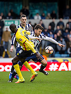 Lee Gregory of Millwall gets past Abdoulaye Doucoure of Watford during the FA Cup match at The Den, London<br /> Picture by Liam McAvoy/Focus Images Ltd 07413 543156<br /> 29/01/2017