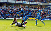 Photo: Alan Crowhurst.<br />Wycombe Wanderers v Lincoln City. Coca Cola League 2. 23/09/2006. Kevin Betsy of Wycombe (C) rounds the keeper only to miss the open goal.