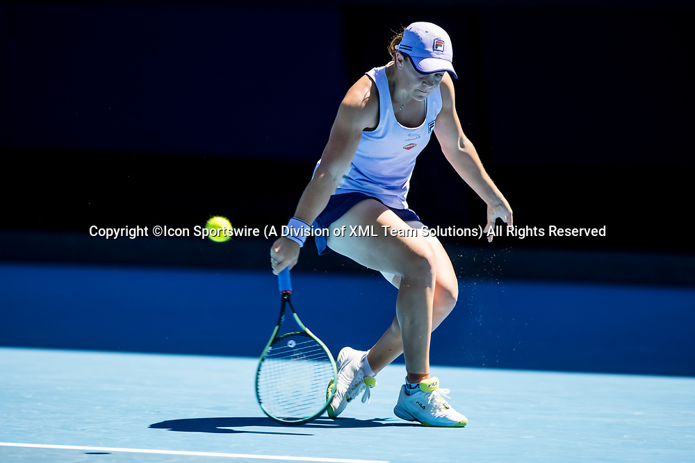 MELBOURNE, VIC - FEBRUARY 17: Ashleigh Barty of Australia returns the ball during the quarterfinals of the 2021 Australian Open on February 17 2021, at Melbourne Park in Melbourne, Australia. (Photo by Jason Heidrich/Icon Sportswire)