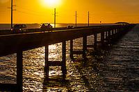 US, Florida Keys. Sunset at the old and new Seven Mile Bridge. Knight's Key, Marathon.