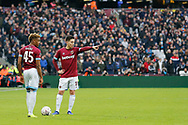 Birminham City midfielder Samir Nasri (18) pointing, directing, signalling, West Ham United midfielder Grady Diangana (45) during the The FA Cup 3rd round match between West Ham United and Birmingham City at the London Stadium, London, England on 5 January 2019.