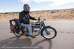 Jeff Tiernan of New York riding his Mark Hill restored 4-cylinder 1913 Henderson class-2 motorcycle during the Motorcycle Cannonball Race of the Century. Stage-12 ride from Page, AZ to Williams, AZ. USA. Thursday September 22, 2016. Photography ©2016 Michael Lichter.