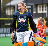 BLOEMENDAAL - keeper Joyce Sombroek (Laren)  na   hockey hoofdklasse competitiewedstrijd dames, Bloemendaal-Laren (1-3) .   COPYRIGHT KOEN SUYK