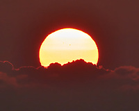 Sunrise over the Pacific Ocean. There are two sunspots barely visible (much better in the sunset image). Nikon N1V3 camera and 70-300 mm VR lens.One thing that I noted on this voyage was the very red color of the sun at sunrise and sunset as we crossed the Pacific ocean.