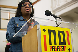 London, UK. 2nd March, 2019. Diane Abbott MP, Shadow Home Secretary, addresses the ¡No Pasaran! Confronting the Rise of the Far-Right conference at Bloomsbury Central.