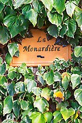 Terra cotta sign saying La Monardiere at the entrance. Domaine la Monardiere Monardière, Vacqueyras, Vaucluse, Provence, France, Europe