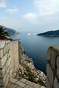 View from wall showing cruise ships and island of Lokrum, Dubrovnik old town, Croatia