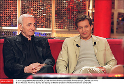 © Jean-Jacques Datchary/ABACA. 21798-19. Paris-France, 8/11/2000. French singer Charles Aznavour & son Nicolas Aznavour during the taping of Michel Drucker's TV show Vivement Dimanche.