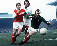Bob Wilson and Eddie Kelly (Arsenal) and Frank Worthington (Leicester),13/1/73 . Credit: Colorsport.