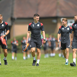 Jon Royle, Ross White, Henry Cowans and Shane Sutton head out as AFC Telford United return to pre-season training at Lilleshall National Sports Centre on Saturday, June 29, 2019.<br /> <br /> Free for editorial use only<br /> Picture credit: Mike Sheridan/Ultrapress<br /> <br /> MS201920-003