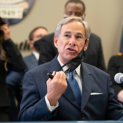 Austin, TX USA September 10, 2020: Texas Governor Greg Abbott , holds a press conference with Austin police and announces a plan to punish Texas cities that cut police spending. Abbott also asked state legislators and candidates for office to sign a pledge backing police with the hashtag #TexasBackstheBlue.