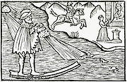 'A sorcerer using his magic powers in order to walk across water.  Woodcut from ''Historia de gentibus septentrionalibus'', Rome, 1555, by Olaus Magnus.'