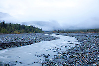 "Scenic image of glacial creek flowing into the Tashenshini River. The ""Tat"" flows out of Yukon, CA, through British Columbia and empties into Glacier Bay National Park in Alaska, US."