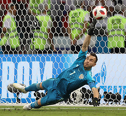 SOCHI, July 7, 2018  Goalkeeper Igor Akinfeev of Russia misses a penalty kick by Croatia's Marcelo Brozovic during the penalty shootout of the 2018 FIFA World Cup quarter-final match between Russia and Croatia in Sochi, Russia, July 7, 2018. Croatia won 6-5 (4-3 in penalty shootout) and advanced to the semi-finals. (Credit Image: © Xu Zijian/Xinhua via ZUMA Wire)