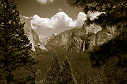 Sepia photo from tunnel view of Yosemite Valley, Yosemite National Park, California