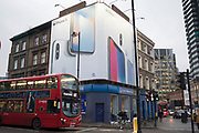 Giant iPhone X advertisement in Shoreditch in London, England, United Kingdom.