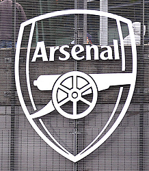 Close up of the Arsenal crest outside the ground