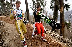 Forrunner Mitja Meznar and Robert Kranjec of Slovenia during Flying Hill Team Trial Round at 4th day of FIS Ski Flying World Championships Planica 2010, on March 21, 2010, Planica, Slovenia.  (Photo by Vid Ponikvar / Sportida)