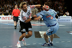 Handball: European Championship Qualification, Germany (GER) - Slovenia (SLO), Stefan Schroeder (GER), Sebastjan Skube (SLO), www.hoch-zwei.net, copyright: SPORTIDA / HOCH ZWEI / Philipp Szyza