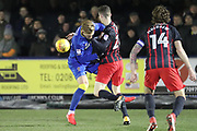 AFC Wimbledon striker Joe Pigott (39) battles for possession  during the EFL Sky Bet League 1 match between AFC Wimbledon and Blackburn Rovers at the Cherry Red Records Stadium, Kingston, England on 27 February 2018. Picture by Matthew Redman.
