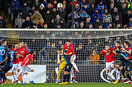 Manchester United defender Victor Lindelöf (2) clears the ball in a goal mouth scramble during the Europa League match between Club Brugge and Manchester United at Jan Breydel Stadion, Brugge, Belguim on 20 February 2020.
