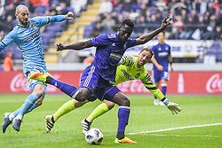 April 29, 2018 - Brussels, BELGIUM - Charleroi's Dorian Dessoleil, Anderlecht's Silvere Ganvoula and Charleroi's goalkeeper Nicolas Penneteau fight for the ball during the Jupiler Pro League match between RSC Anderlecht and Sporting Charleroi, in Brussels, Sunday 29 April 2018, on day six of the Play-Off 1 of the Belgian soccer championship. BELGA PHOTO LAURIE DIEFFEMBACQ (Credit Image: © Laurie Dieffembacq/Belga via ZUMA Press)