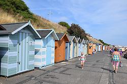Beach huts, Lowestoft beach, Suffolk, UK August 2016