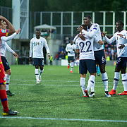 ANDORRA LA VELLA, ANDORRA. June 1.  Wissam Ben Yedder #22 of France is congratulated by Paul Pogba #6 of France after scoring a goal during the Andorra V France 2020 European Championship Qualifying, Group H match at the Estadi Nacional d'Andorra on June 11th 2019 in Andorra (Photo by Tim Clayton/Corbis via Getty Images)