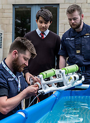Pictured: <br />A new STEM initiative challenging school students to build and control an underwater vehicle was launched today in Stirling. SUBS in Schools is being introduced into 15 Scottish schools by Engineering in Motion (EIM), a leading global education programme provider with lead supporter the Royal Navy. The programme will be managed in partnership with ESP, a Stirling based MOD STEM partner.  Services personel were on hand at ESP in Stirling today to demonstrate the submersibles to students from Kilpartrick High School in West Dumbartonshire, St Columba's in Dunfermline and Govan High School. <br /><br />The competition is for teams of six students, with the Scotland pilot year introducing the Development Class which is open to year groups S1-S3, ages 12 – 14. The students will develop their Remotely Operated Vehicles (ROV) and compete at a National Final in April 2020. <br /><br /><br />Ger Harley | EEm 13 June 2019