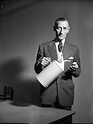 McConnell's Special - Mr Sharpe with the Oil Can he invented for Irish Shell <br /> 04/09/1953  04/09/1953<br /> 09/04/1953<br /> 04 September 1953<br /> <br /> McConnell's Special - The Oil Can Mr Sharpe invented for Irish Shell